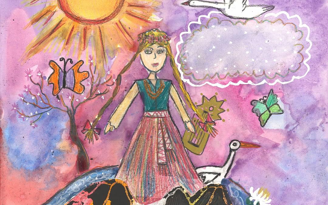 """Moksleivių piešinių paroda """"Dvasios milžinai Krėvės kūryboje. Iškiliausi padavimų, apsakymų ir dramų personažai"""" 2018 02 16 – 2018 04 16"""