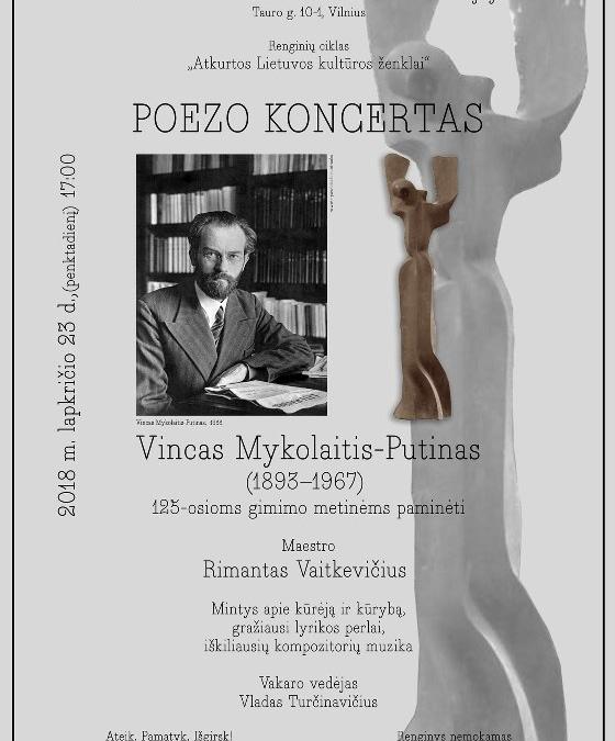 """""""Poezo koncertas"""". Vinco Mykolaičio-Putino 125-osioms gimimo metinėms paminėti (2018 11 23)"""